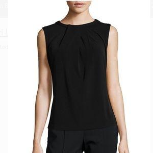 Karl Lagerfeld Pleated Black Shell Blouse